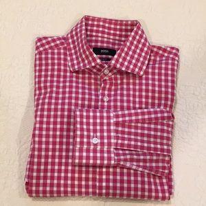 Hugo Boss button down slim fit gingham shirt 15,5